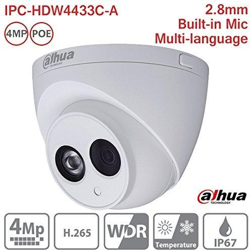 Dahua IP Camera IPC-HDW4433C-A 2.8mm 4MP Full HD IR Mini Turret Dome Network Camera ONVIF PoE Built-in Mic IP67 International Version