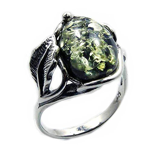 Passion Leaf' Sterling Silver Natural Green Baltic Amber Ring, Size 7