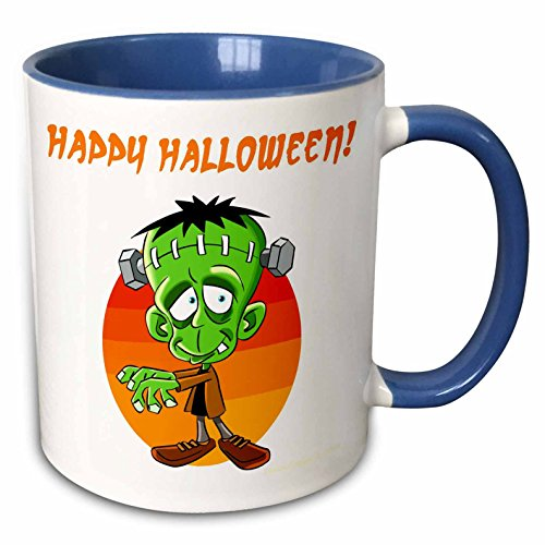 3dRose Edmond Hogge Jr – Cartoons - Frankenstein Halloween Cartoon - 15oz Two-Tone Blue Mug (mug_211686_11)