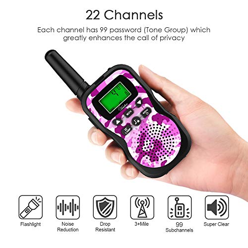Huaker Kids Walkie Talkies,3 Pack 22 Channels 2 Way Radio Toy with Flashlight and LCD Screen ,3 Miles Range Walkie Talkies for Kids Outside Adventures, Camping, Hiking by Huaker (Image #4)
