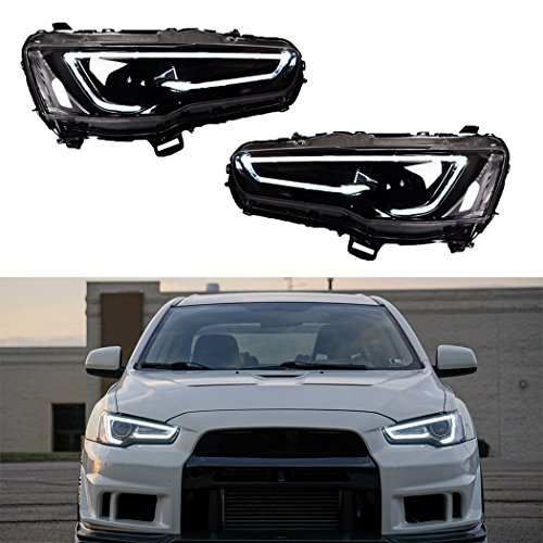 Vland LED Blackout Headlights For 2008-2017 Mitsubishi Lancer/Evo X head lamp Audi ()