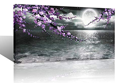(Large Purple Wall Art Decor for Living Room Bedroom Framed Black and White Seascape Full Moon Purple Flower Painting Canvas Picture Modern Hand-Painted Plum Blossom Artwork for Home Office 24x48)