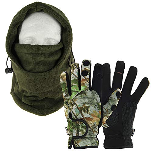 DNA Cold Weather Carp Fishing Fleece Lined OD Green Adjustable Snood with Gloves (Medium, Large or Extra Large – You…