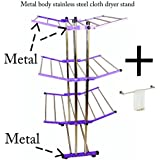 LAKSHAY metal body foldable cloth dryer stand / stainless pipes- purple colour