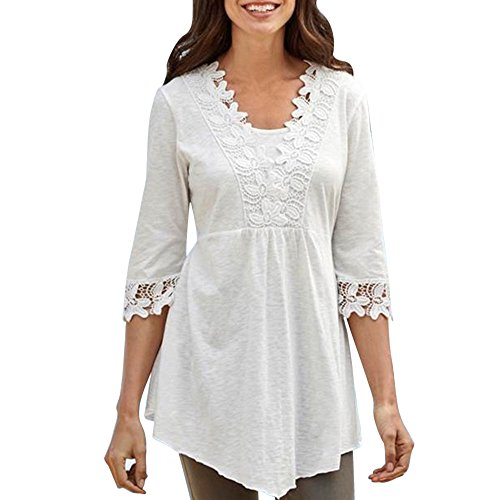 Sherostore ♡ Women's Floral Lace Blouse Half Sleeve Loose T-Shirt Pleated Casual Tunic Top White