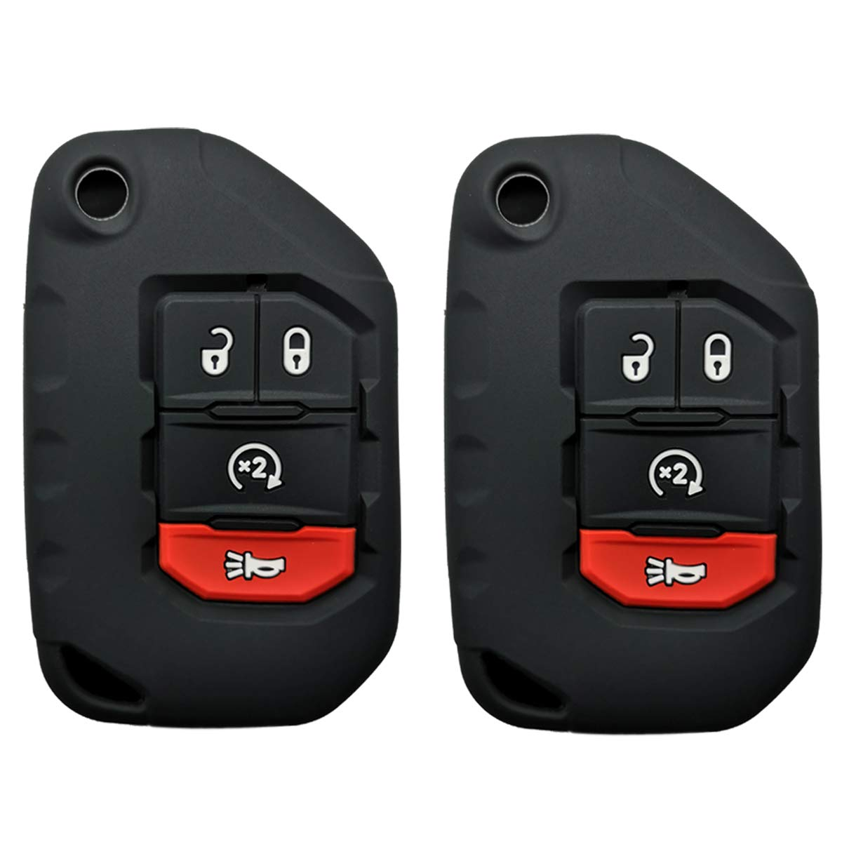Coolbestda for 2018 2019 2020 Wrangler JL Gladiator JT 68292944AA Flip 4buttons Silicone Key Fob Remote Case Protector Holder Skin Jacket Accessories 2Pcs 5558988868