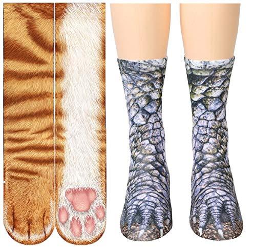 3D Socks Unisex Adult Big Kids Animal Paw Crew Socks - Sublimated Print (Orange Cat+Dinosaur)