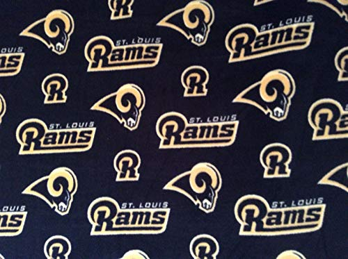 - St Louis Rams NFL Football Fleece Fabric on Blue, 60