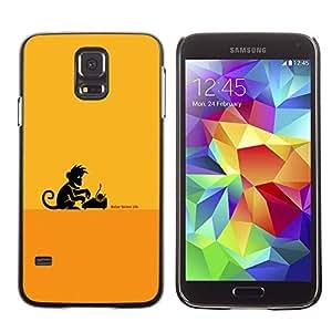 LECELL--Funda protectora / Cubierta / Piel For Samsung Galaxy S5 -- Escritor Monkey Business --