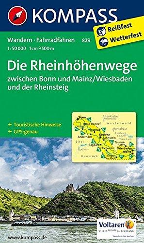 Die Rheinhöhenwege zwischen Bonn und Mainz/Wiesbaden und der Rheinsteig.: Wanderkarte mit Radtouren und tourisitschen Hinweisen. GPS-genau. 1:50000 (KOMPASS-Wanderkarten, Band 829) Landkarte – Folded Map, 21. September 2016 KOMPASS-Karten GmbH 3850268950 A