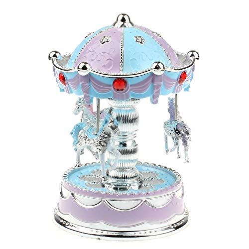 (Xindda Carousel Music Box Merry-Go-Round Music Box Toy with Castle in The Sky Perfect for Birthday Gift Valentine's Day Luxury Smart LED Light Luminous Crystal Ball Miniature Dollhouse, Ship from USA )