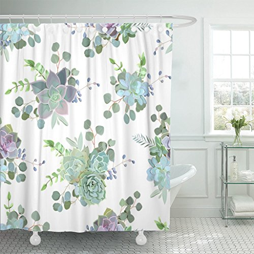 TOMPOP Shower Curtain Flower Green Colorful Succulent Echeveria Design Natural Cactus in Modern Funky Style Wedding Rustic Waterproof Polyester Fabric 60 x 72 Inches Set with - Curtain Hipster Shower