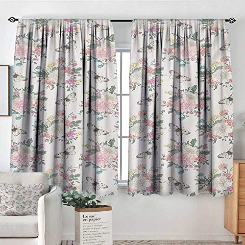 Mozenou Shabby Chic Custom Curtains Peonies Sweet Peas Roses Bouquet and Butterflies Pastel Tones Bridal Theme Customized Curtains 55