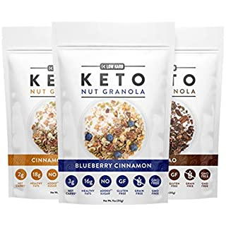 Low Karb - Keto Nut Granola Healthy Breakfast Cereal - Low Carb Snacks & Food - 3g Net Carbs - Almonds, Pecans, Coconut and more (11 oz) (Original Variety Pack)