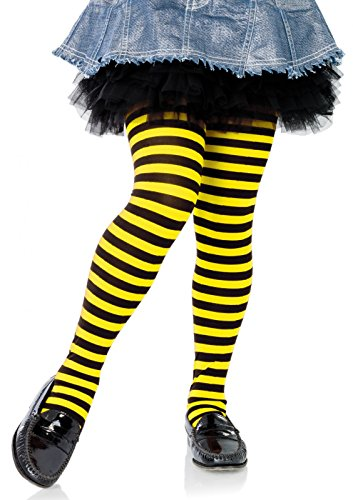 Leg Avenue's Children's Striped Tights, Black/Yellow, Large -