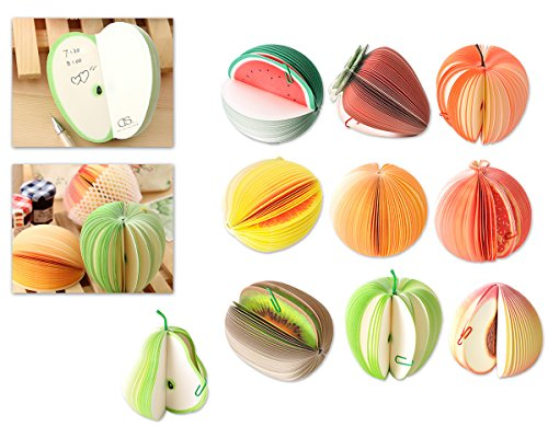 Mini Sticky Notepad (Ace Select 10 Styles 3D Fruit Shaped Portable Mini Notes Memo Scratch Pads Paper Notepads)