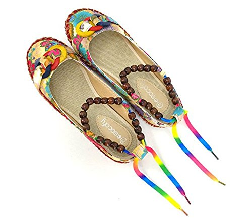 Cystyle Women Comfortable Ethnic Beading Flats Round Toe Colorful Loafers Shoes Colorful XyrfdiZ