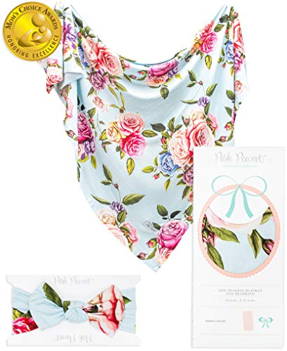 Posh Peanut Baby Swaddle Blanket - Large Premium Knit Baby Swaddling Wrap Receiving Blanket and Headband Set, Baby Shower Newborn Gift (Country Rose)