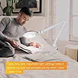 Brightech LightView Pro Dimmable LED Magnifying Floor Lamp with 6 Wheels Rolling Base - For Professional Use and Crafts- Adjustable Gooseneck Glass Lighted Magnifier Lens Standing Light - White