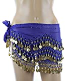 AK-Trading Plus Size Belly Dancing Hip Scarf - Royal Blue with Gold Coins