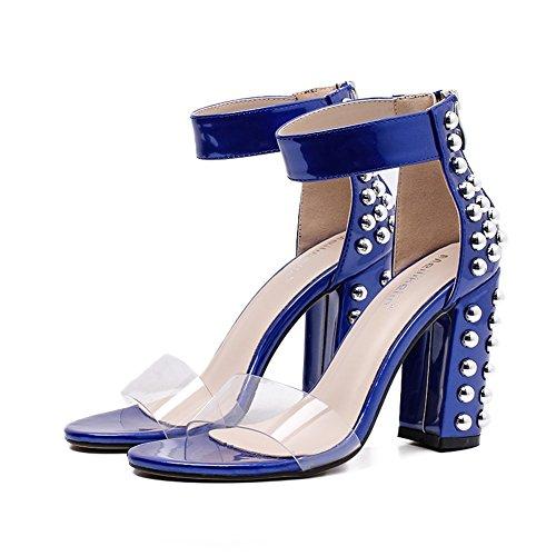 Con Alti Donna 2018 Vernice New Sandali Trasparenti Highxe Summer uk6 Tacco In Tacchi eu37uk455 Da Fish Bouth Alto 5 Rivetti Blue Eu39 SnY6w54q