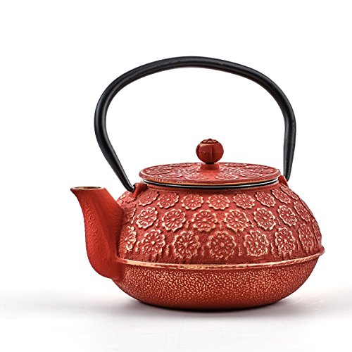 cast iron teapot red - 8
