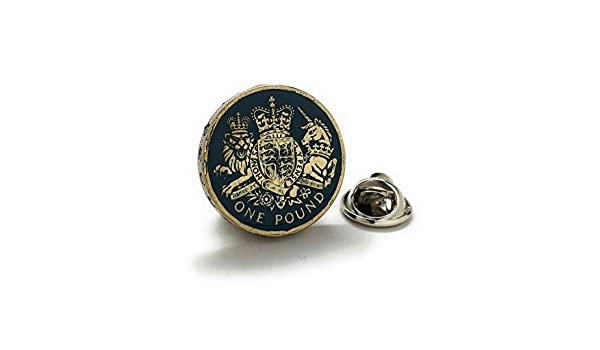 British Pound Tie Tack Lapel Pin Suit Britain England Seal Crest United Kingdom Royal Queen King Knight