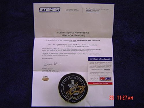 (Tampa Bay Lightning Steven Stamkos Game Used Signed 15 Playoff Goal Puck - Steiner Sports Certified - Autographed Other Game Used NHL Items)