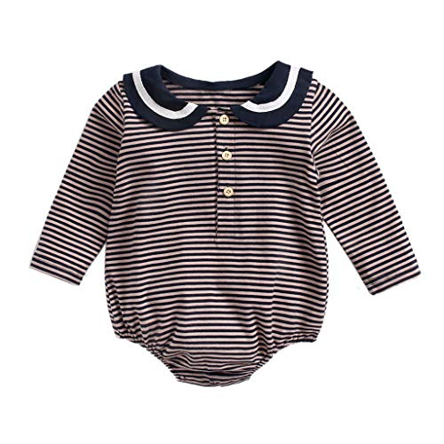 Kehen Infant Baby Toddler Girls Spring Outfit Ruffle Romper Bodysuit Striped Onesie Long Sleeve Shirt Cotton Jumpsuit Brown 6-12 Months