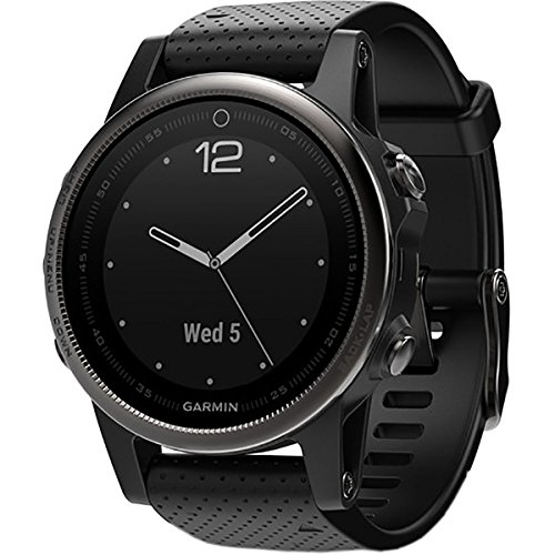 Garmin Fenix 5S Sapphire Black With Black Band, One Size