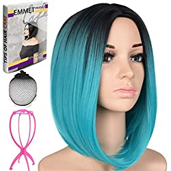 "Emmet Short Bob Wig 12"" Shoulder Length Soft Silk Synthetic Kanekalon Dark Roots Ombre Color Women's Wigs with Free Wig Cap & Wig Stand Holder & Ebook (Black & Dark Turquoise)"
