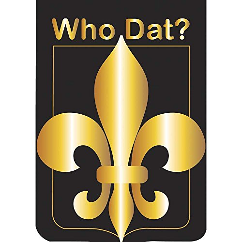 Who Dat Shining Fleur de Lis on Black 42 x 29 Shield Shape Double Applique Tab Top Large House Flag
