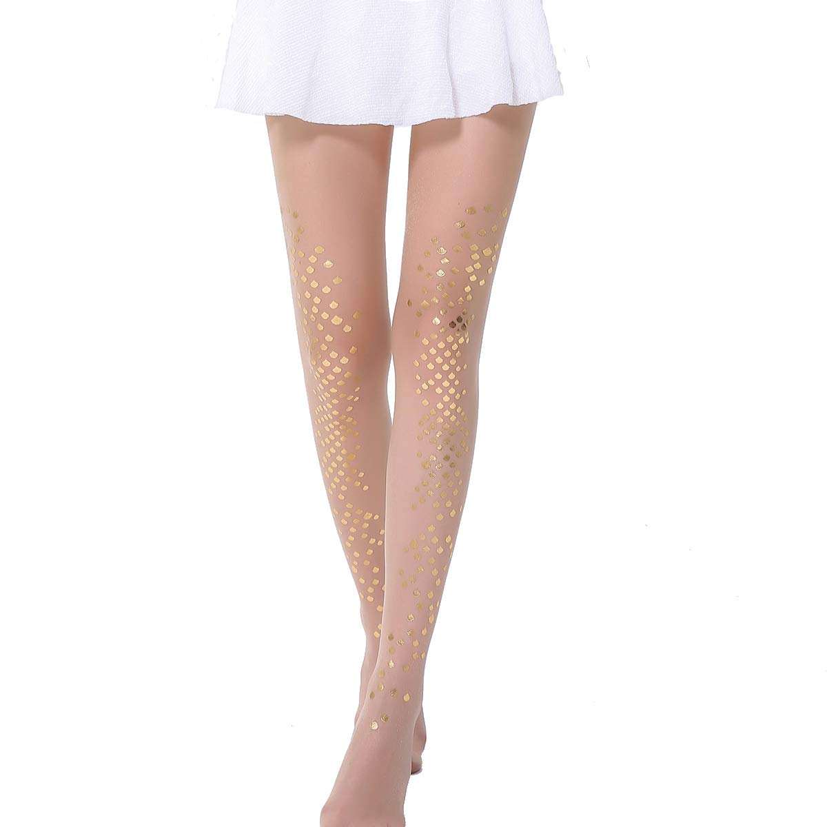 3bb4cc3efd919 Mina Life Thigh High Stockings Women's Sheer Pantyhose Mermaid Stockings  Sparkling Sequin Tights (Gold) at Amazon Women's Clothing store: