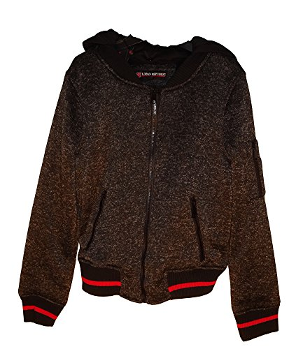 (9374) Urban Republic Womens Heathered Fleece Bomber Jersey With Detachable Knit Hood in Charcoal Size: 1X