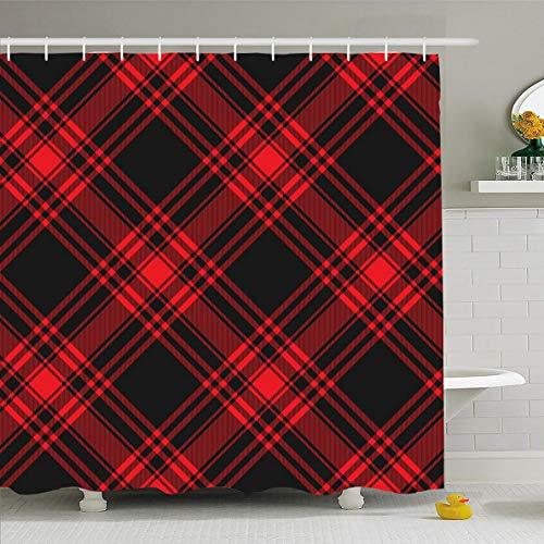 Ahawoso Shower Curtain 72x72 Inches Plaid Pattern Menzies