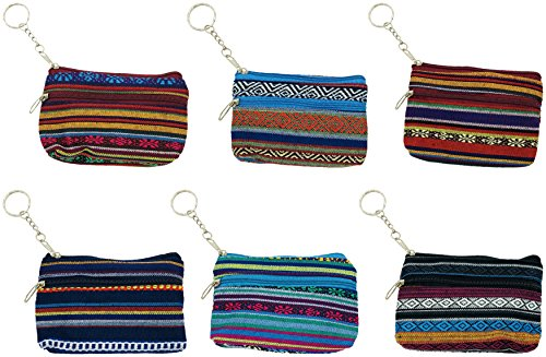 Zipper Key Ring - 6 Pack Coin Purse, Small Zippered Keychain Wallet, Cash Holder Change Pouch for Women Girls Gift (6 Pack, Stripes)