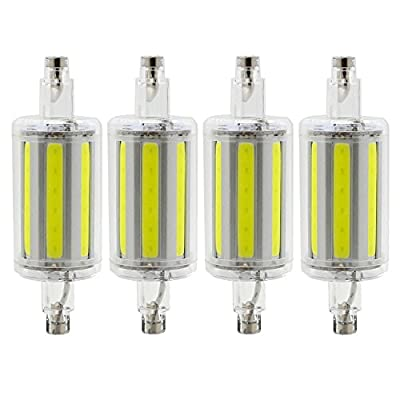 R7S 78mm COB LED Bulbs - Daylight 6000K - 8W / 600LM - Not Dimmable - AC85-265V - J Type Double Ended 70W R7S J78 Halogen Bulb Replacement (Pack of 4)