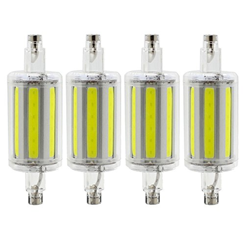 R7S 78mm COB LED Bulbs - Daylight 6000K - 8W / 500LM - Not Dimmable - AC85-265V - J Type Double Ended 70W R7S J78 Halogen Bulb Replacement (Pack of 4)