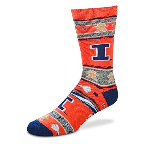 For Bare Feet NCAA Ugly Christmas Holiday Socks-Illinois Fighting Illini-Orange-Large
