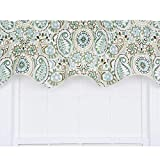 valances window treatments  Paisley Prism Jacobean Floral Print Lined Duchess Filler Valance, 50 by 15-Inch, Latte
