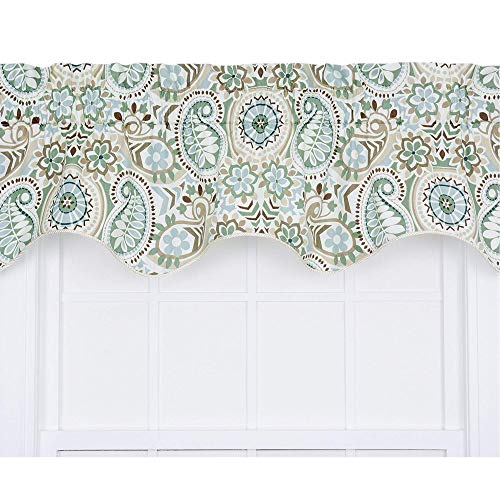 Paisley Prism Jacobean Floral Print Lined Duchess Filler Valance, 50 by 15-Inch, Latte