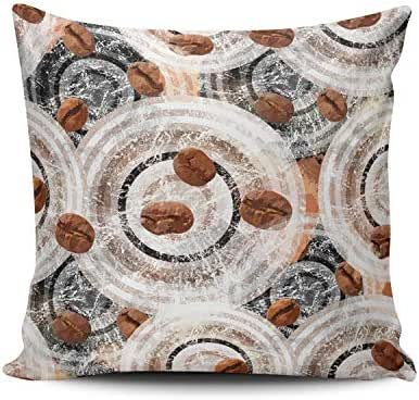 Fanaing Black Brown White Geometric Round Pillowcase Home Sofa Decorative 24X24 Inch Square Throw Pillow Case Decor Cushion Covers Double Sided Printed