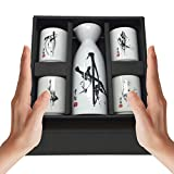 Japan Made Sake Set in Gift Box, 5 oz Carafe and 4 Cups Serving Hot and Cold, Saki Tokkuri Dispenser Bottle Pitcher Flask Asian Oriental Japanese Traditional Drinking Glasses Ceramic, ASIN