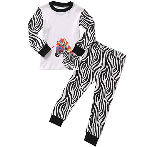 (Little Girls Zebra Pajamas Set Children 2-Piece PJs 100% Cotton Sleepwear Size 3 Years)