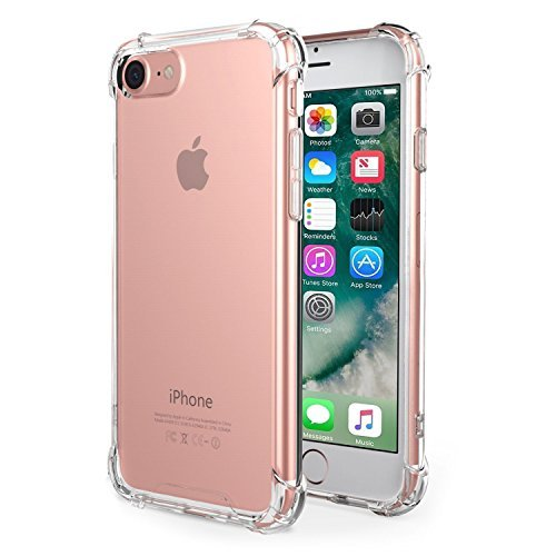 Hard Plastic Case Bling (iPhone 7 Case,iPhone 8 Case, Amuoc Crystal Clear Cover Case [Shock Absorption] with Transparent Hard Plastic Back Plate and Soft TPU Gel Bumper (Clear))