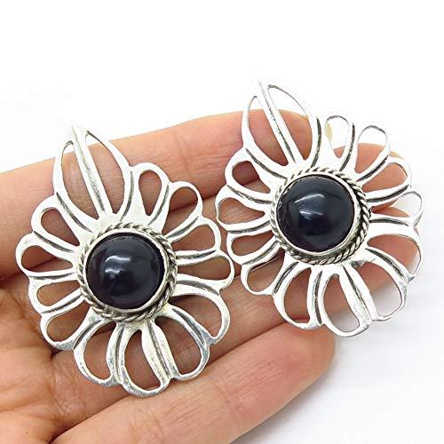VTG Mexico 925 Sterling Silver Black Onyx Gem Open Leaf Large Clip On Earrings