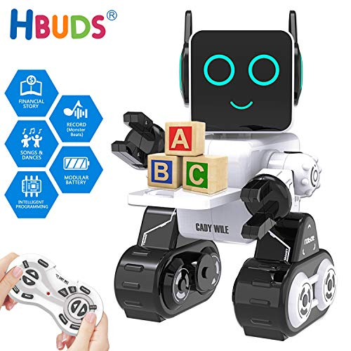 Remote Control Robots For Kids (HBUDS Robots for Kids, Remote Control Robot Intelligent Interactive Robot LED Light Speaks Dance Moves Built-in Coin Bank Programmable Rechargeable RC Robot Kit for Boys, Girls,Age 8+ Years)