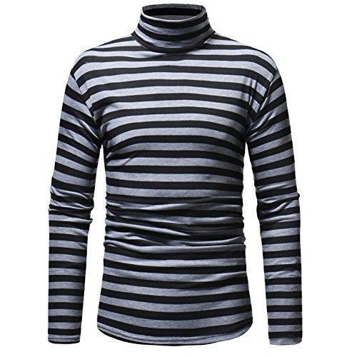 Ratoop Autumn Winter Men's Striped Pullover Sweatshirt Turtleneck Blouse Tops Comfortable Shirt (Dark Gray, L)