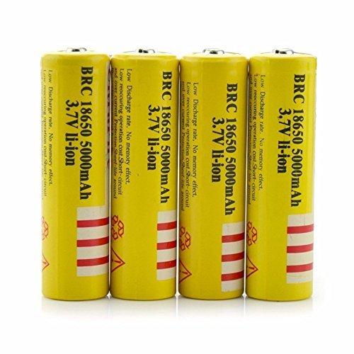 4Pcs 3.7V E-shinre 18650 5000mah Rechargeable Lithium Battery for flashlights &headlamps
