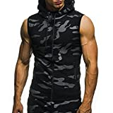 HTHJSCO Mens Workout Hooded Tank Tops Sleeveless Gym Hoodies with Kanga Pocket Cool and Muscle Cut T-Shirt Top Vest Blouse (Black, XXL)